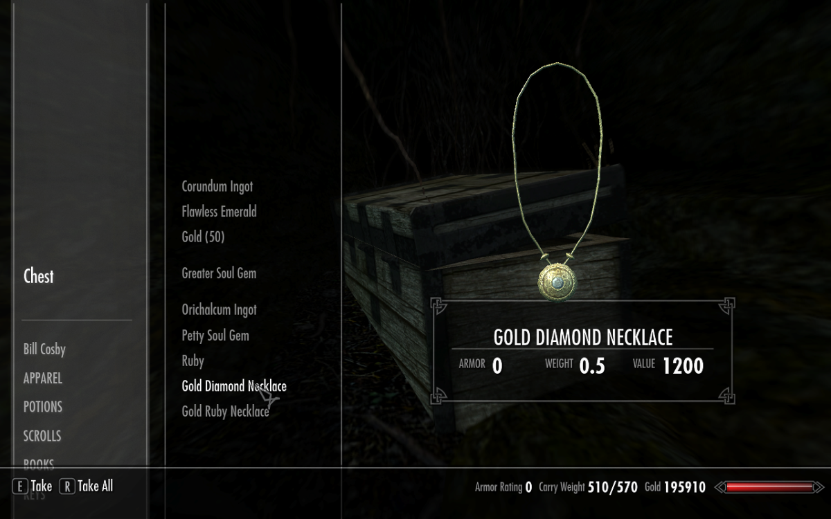 Opening up the chest associated with Treasure Map I in The Elder Scrolls V: Skyrim.