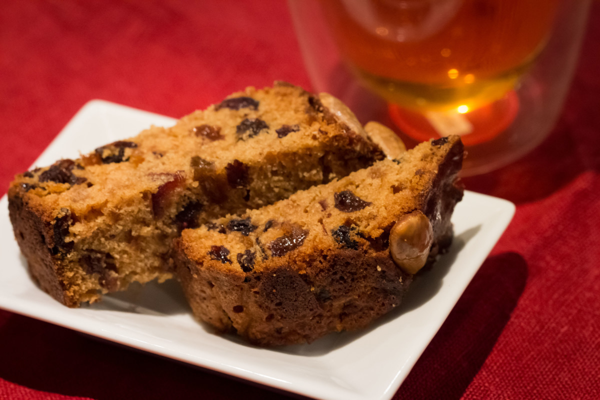 Crushed pineapple fruitcake fingers decorated with whole blanched almonds