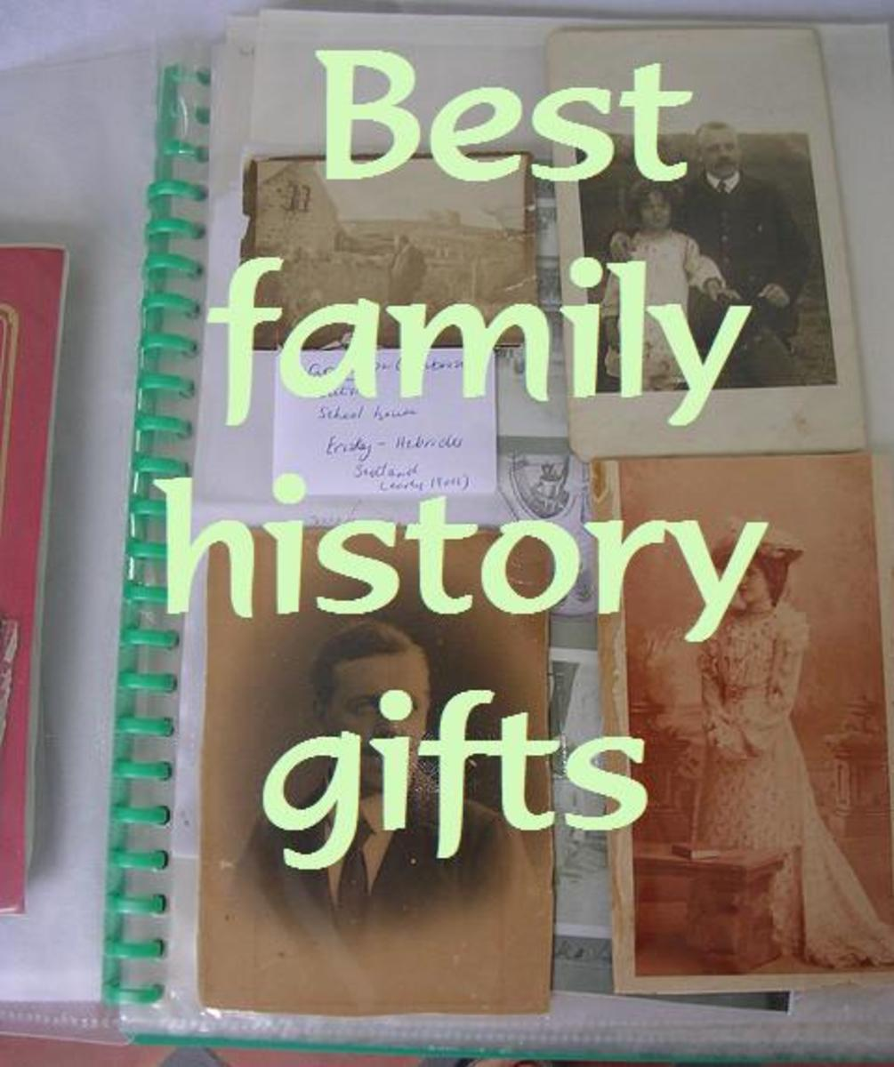 A genealogy buff or family history researcher collects old photographs and documents.