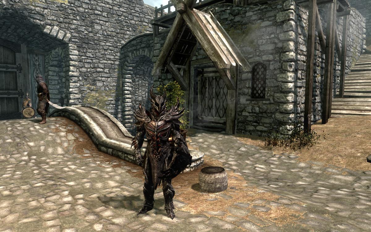 Wearing the full Daedric Armor set in Skyrim.