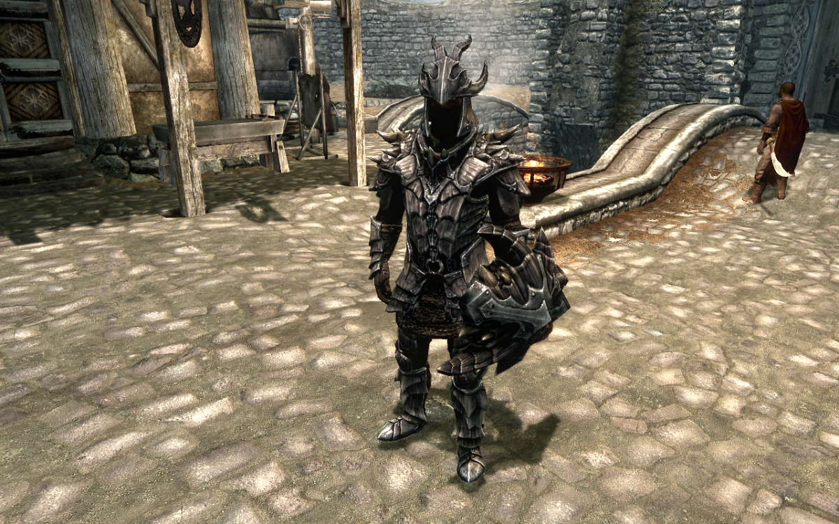 Wearing a full set of Dragonscale Armor in The Elder Scrolls V: Skyrim.