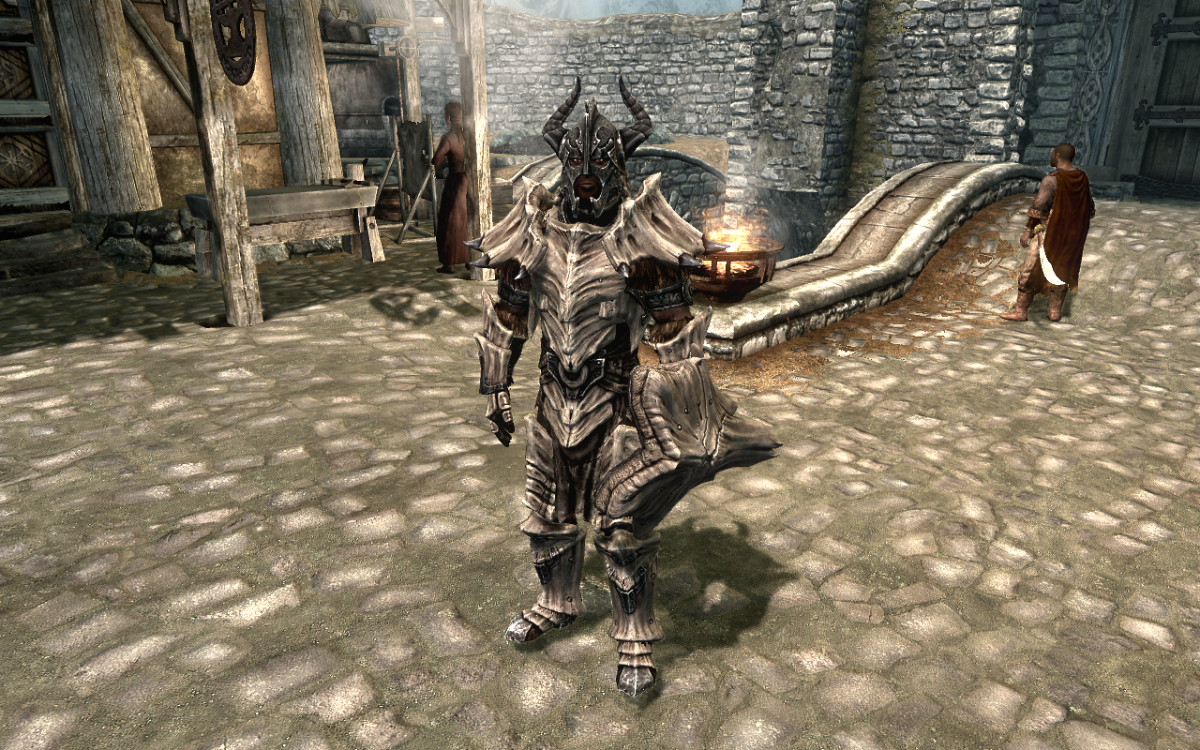 Wearing a full suit of Dragonplate Heavy Armor in The Elder Scrolls V: Skyrim.