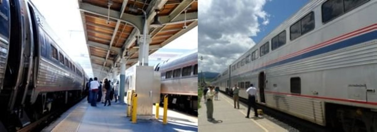 LEFT: Single-level Viewliner cars (Crescent). RIGHT: Double-level Superliner cars (Zephyr).