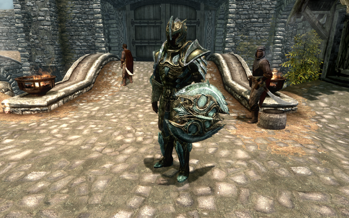 Wearing the Glass Armor set in The Elder Scrolls V: Skyrim.