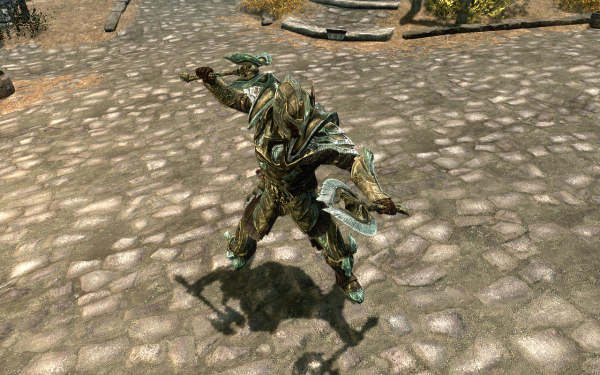 Dual wielding Glass Weapons in The Elder Scrolls V: Skyrim.