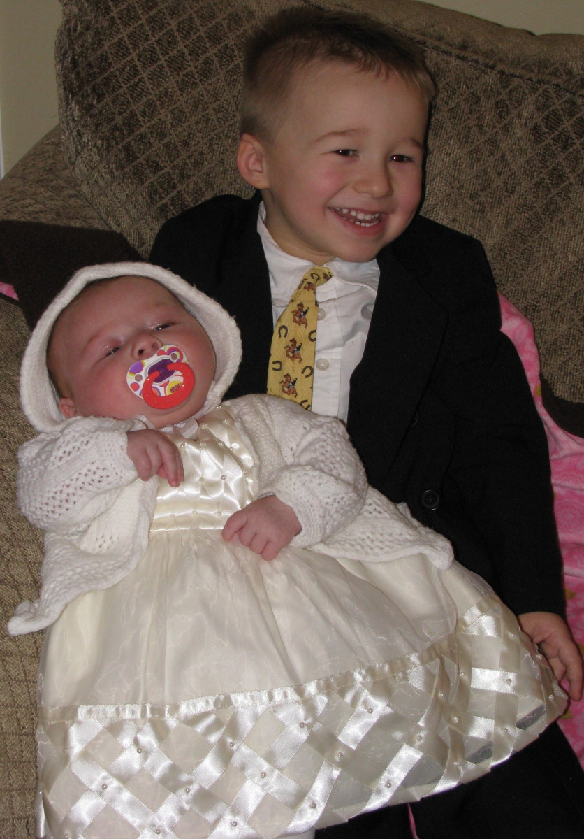 My kids, ready for my daughter's first church service.