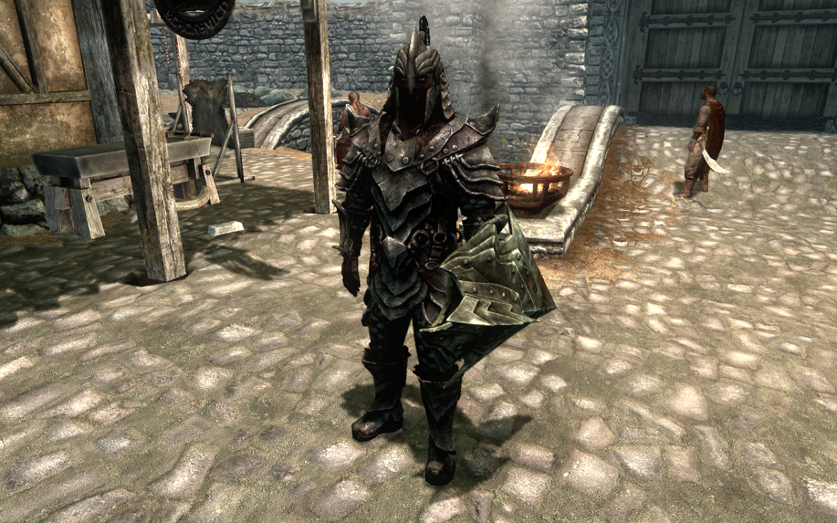 Wearing a full suit of the Orcish Armor in The Elder Scrolls V: Skyrim.