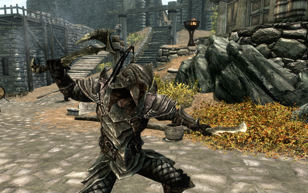 Wielding a pair of Orcish Weapons in The Elder Scrolls V: Skyrim.