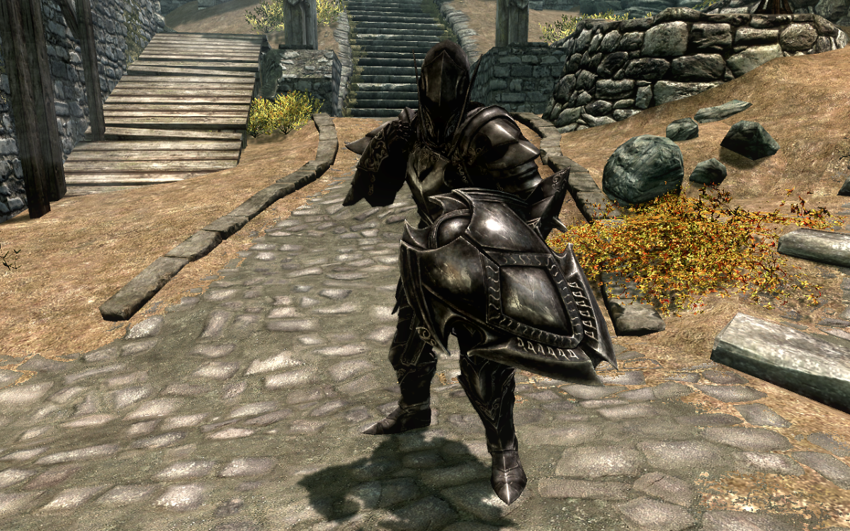 Wearing a full suit of the Ebony Armor in The Elder Scrolls V: Skyrim.