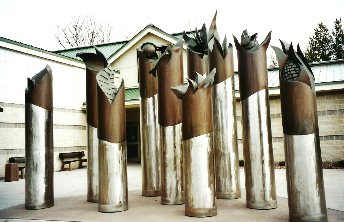 Sculptures by artist Tom Stancliffe at the Wilton Rest Area & Welcome Center in Iowa