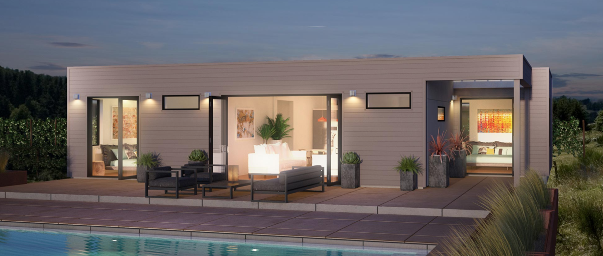 This single-level 2-bedroom, 2-bath prefab home, the Origin, starts at $330,000. Its base price, at about $330/sq.ft., places it at near the average of the range for contemporary prefab houses.