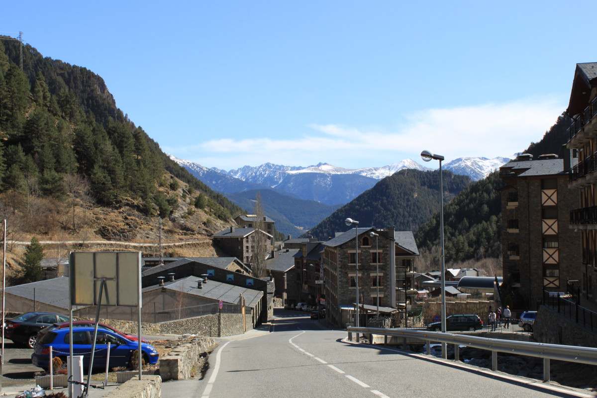 View looking down through the ski resort of Arinsal, Andorra with the Pyrenees in background.