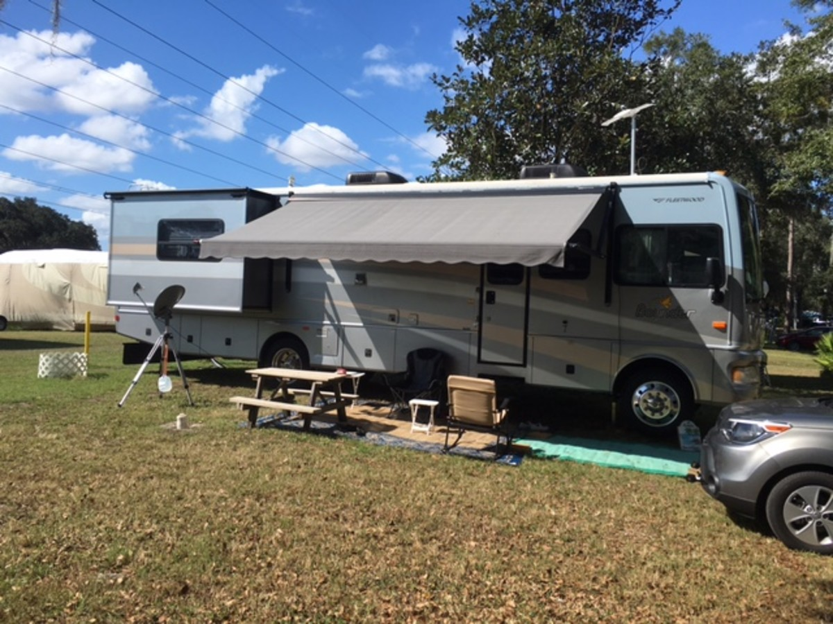 A typical RV motorhome campsite laid out for comfort and convenience.