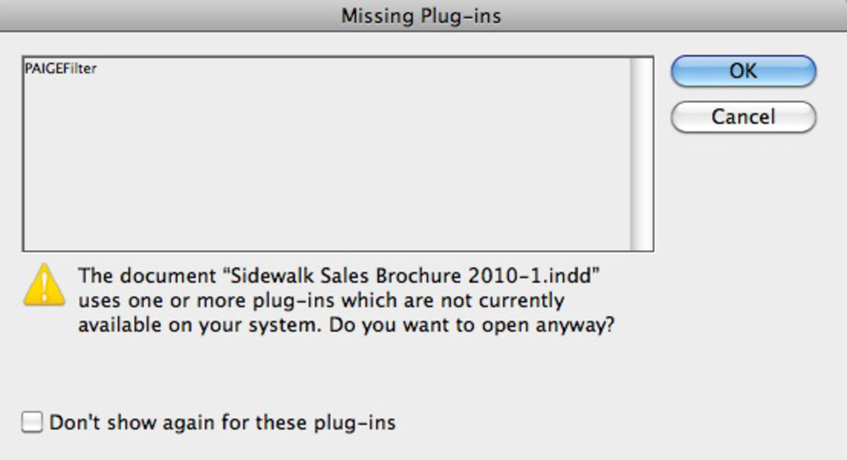 How To Fix PAIGEfilter Missing Plug-ins Error in Adobe InDesign