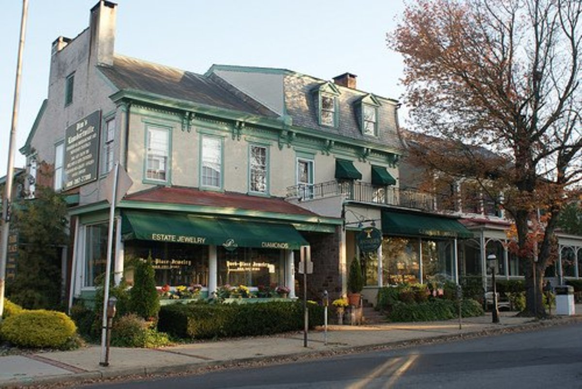 A main commercial street in Lambertville