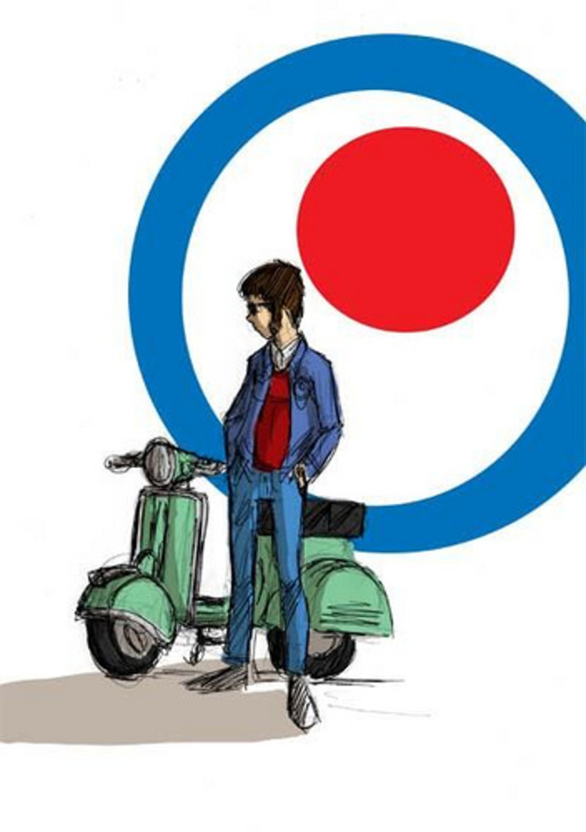 Sketch of a mod and his scooter.
