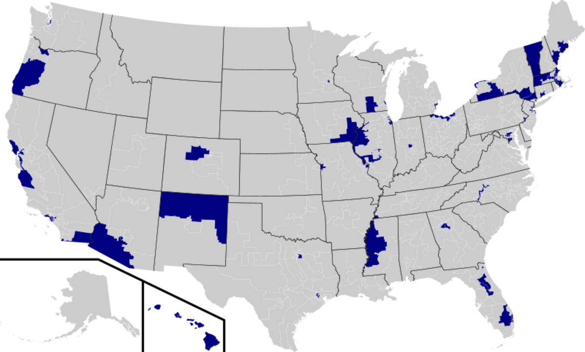 2009 map showing districts with Progressive Democrat representation in the US.