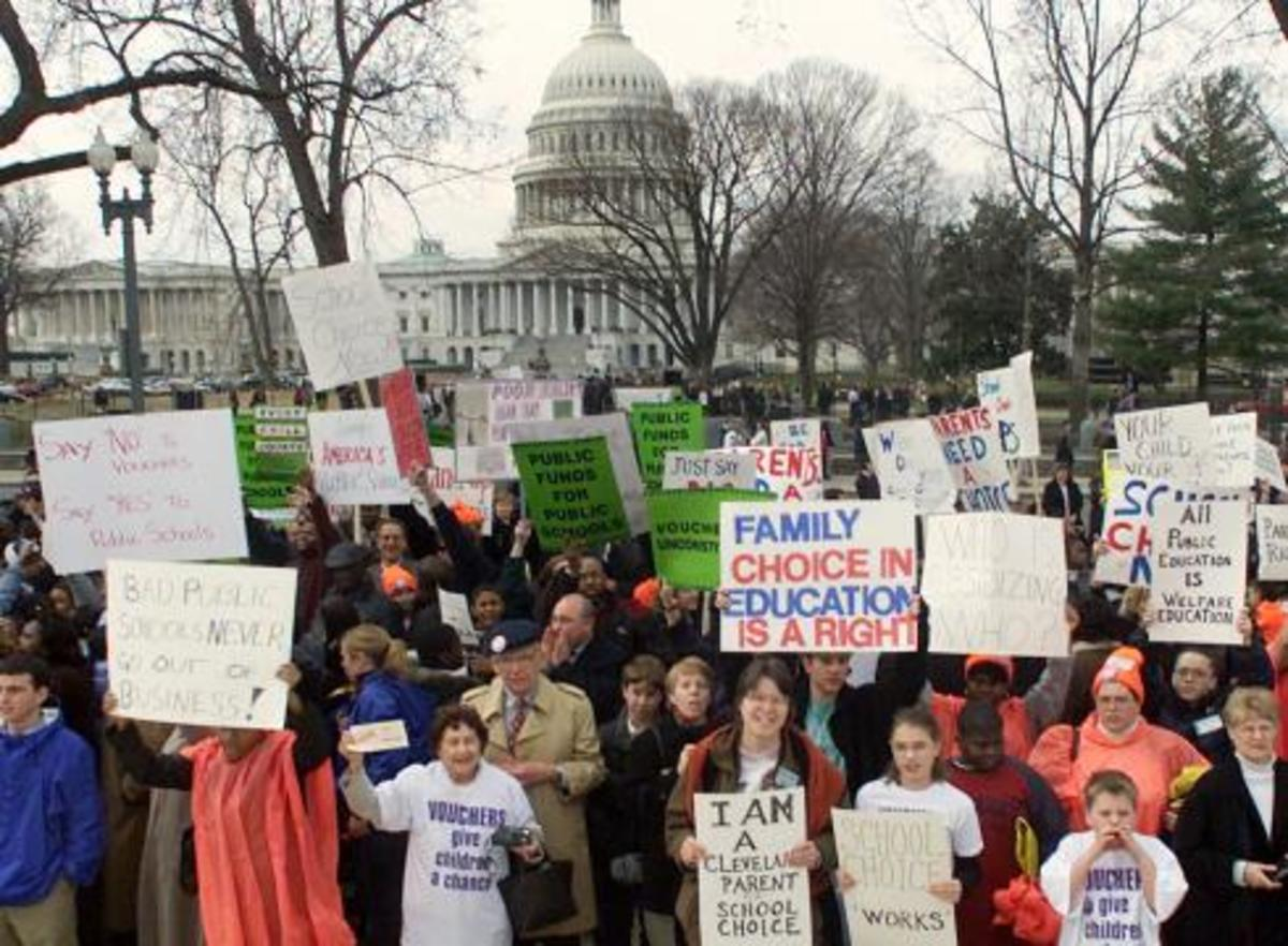 People demonstrating for school choice through vouchers -- will they get what they think they will when the dust settles?