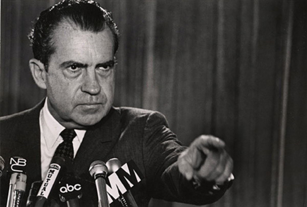 President Richard Nixon And An Accusatory Gesture