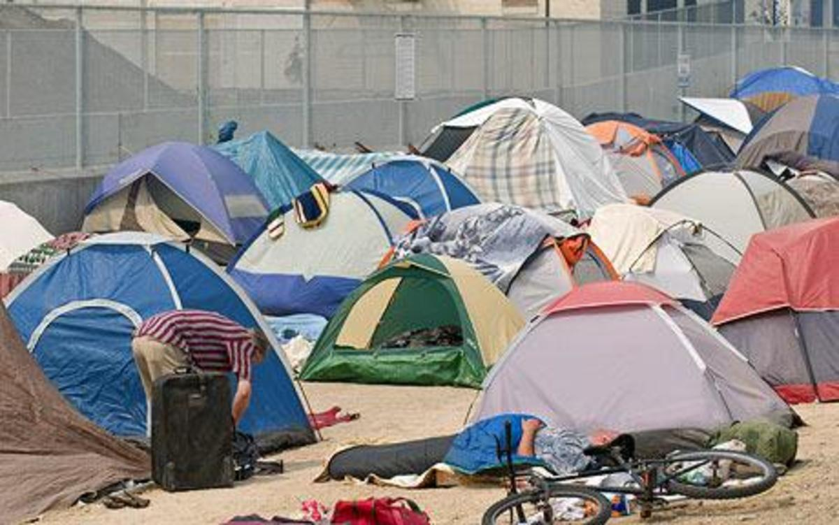 Thousands of people all over this country, including veterans of our military are living in tent cities because there are no jobs.  This tent city is outside Reno, Nevada.
