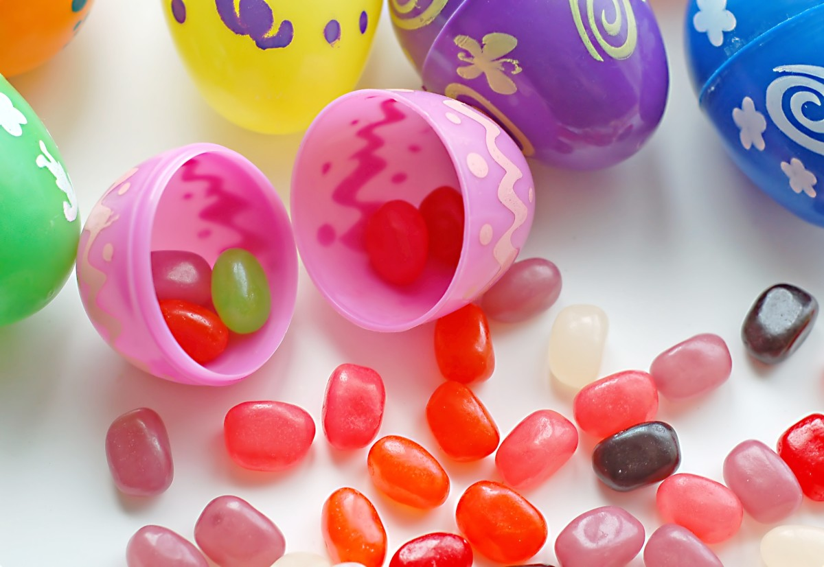 Plastic eggs containing jelly beans are fun for children but bad for the environment.