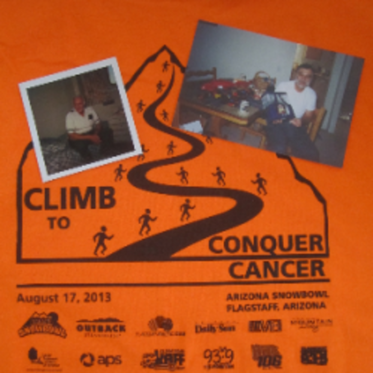 Photos of our fathers on the Climb to Conquer Cancer t-shirt