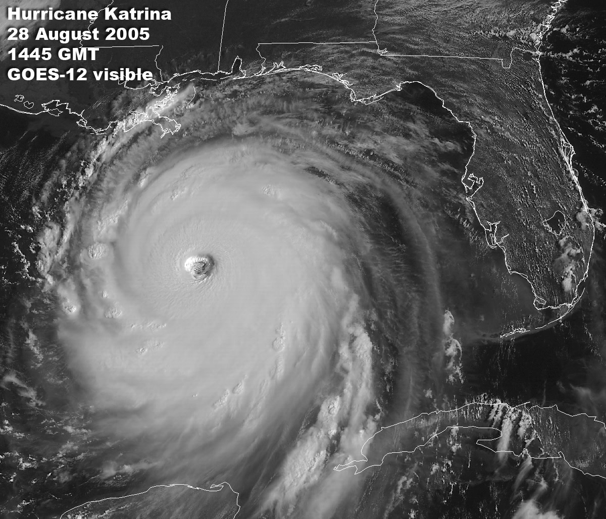 Hurricane Katrina at its peak, before making landfall on the Gulf coast.