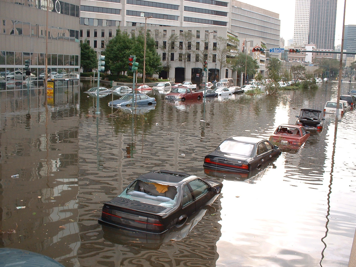 Cars flooded on the New Orleans streets