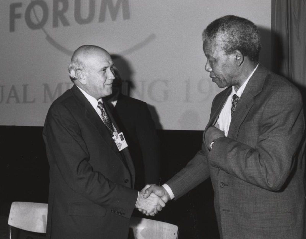 Nelson Mandela and FW De Clerk.