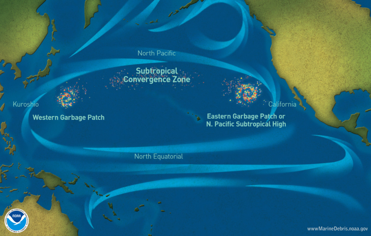 Marine debris accumulation locations in the North Pacific Ocean