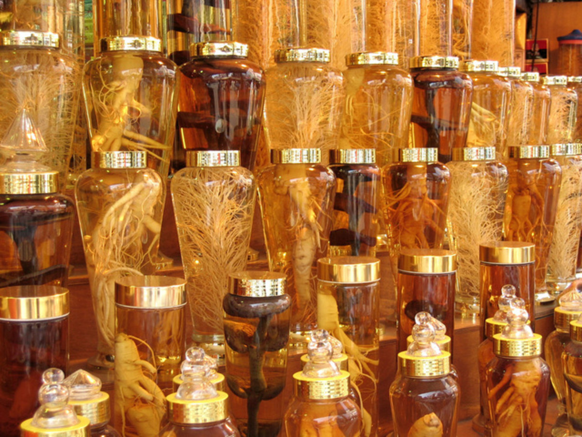 Rows of ginseng and mushroom elixirs found in Seoul, Korea marketplace.