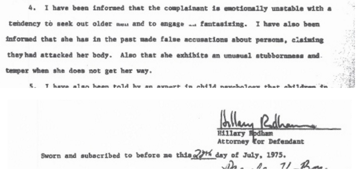 Passage from court affidavit signed by Clinton