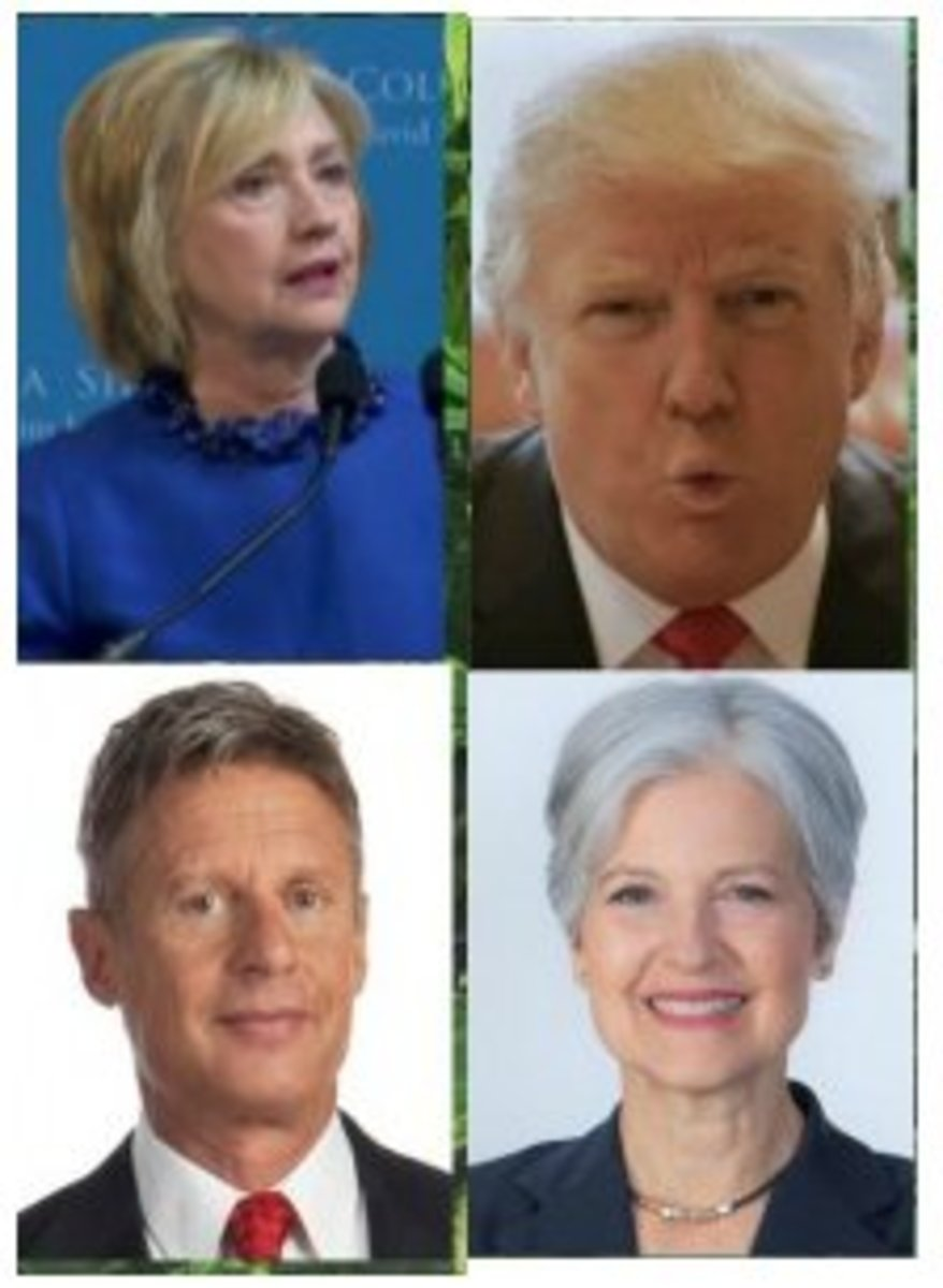 Montage of the Four Leading Candidates that most United States voters will see on their ballot. Originally from http://fermentation-com.wpengine.netdna-cdn.com/wp-content/uploads/president2016.jpg
