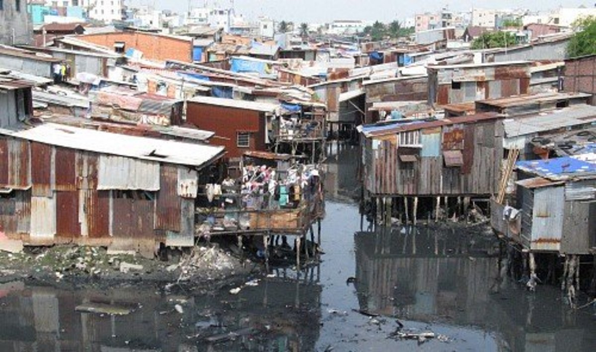 Slum houses in Ho Chi Minh City, Vietnam