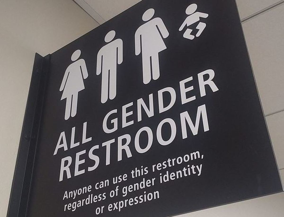 All Gender Restroom sign (debuted in 2015) at San Diego Airport by Checkingfax