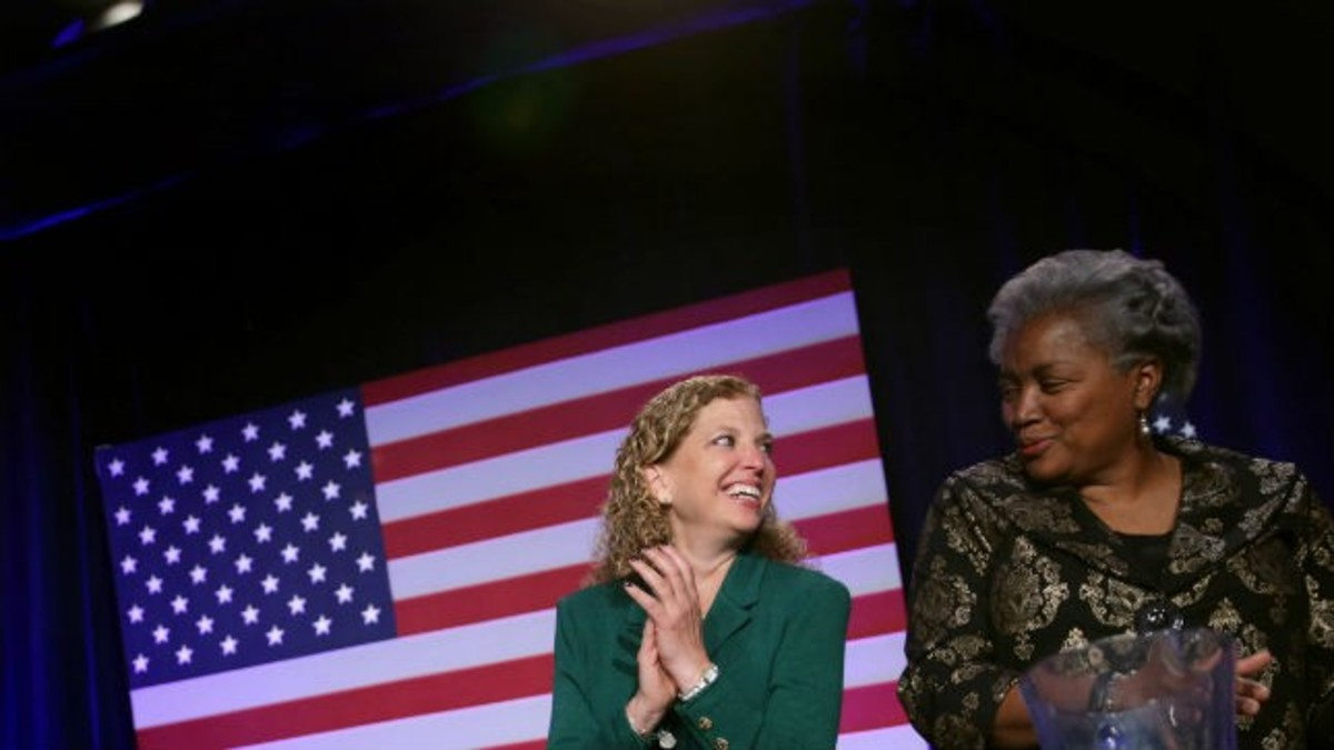 Former DNC chairwoman Debbie Wasserman Schultz (left) and interim DNC chairwoman Donna Brazile (right)