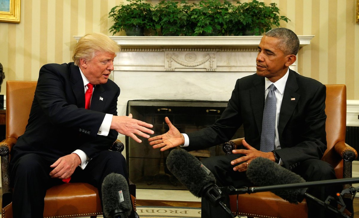 President Obama and President Elect Trump shake hands after their first meeting on Thursday, November 10.
