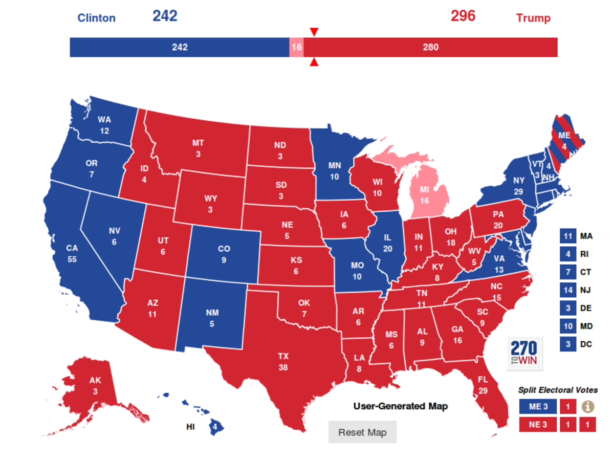 Final elector's results in 2016 presidential election.