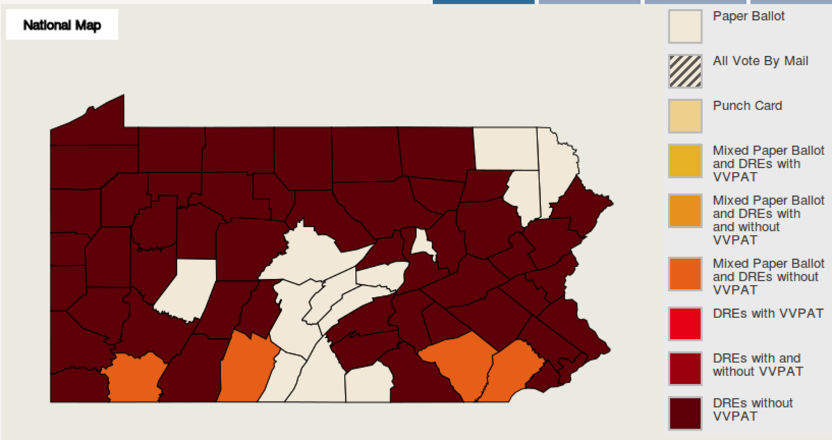 "County map of PA voting systems in use.  Majority dark counties are ""DREs without VVPAT,"" or electronic touch-screens ""without Voter-Verified Paper Audit Trail."""