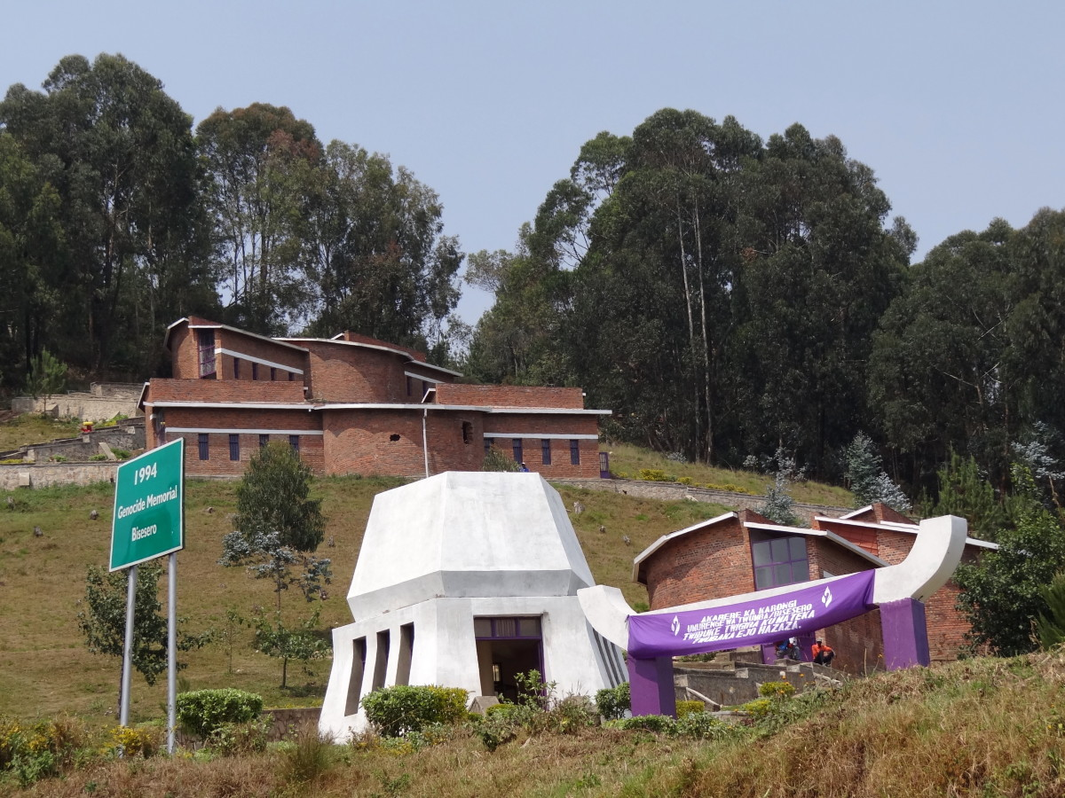 Biserero Genocidal Memorial by Adam Jones, The memorial is on a hill at the small settlement of Bisesero which is about 60 km by road from Kibuye, Rwanda. 40,000 people died in the area around Bisesero.