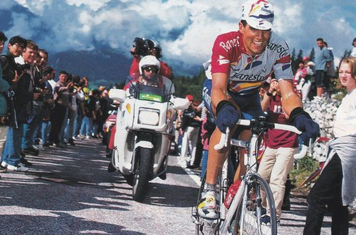 Miguel Indurain riding a steel Pinarello bicycle in the the mountains during the Tour De France