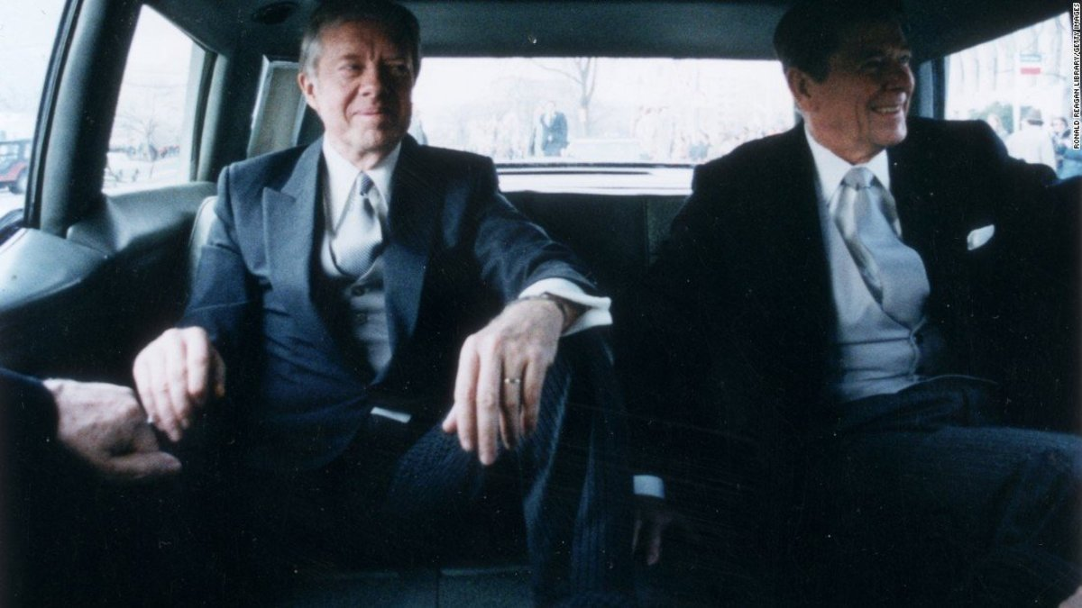 Carter (left) and Reagan (right) on inauguration day, 1981.