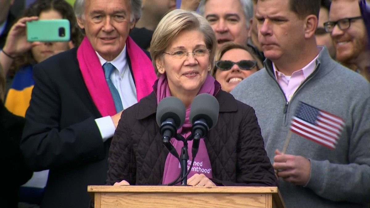Senator Elizabeth Warren in Boston on Saturday.