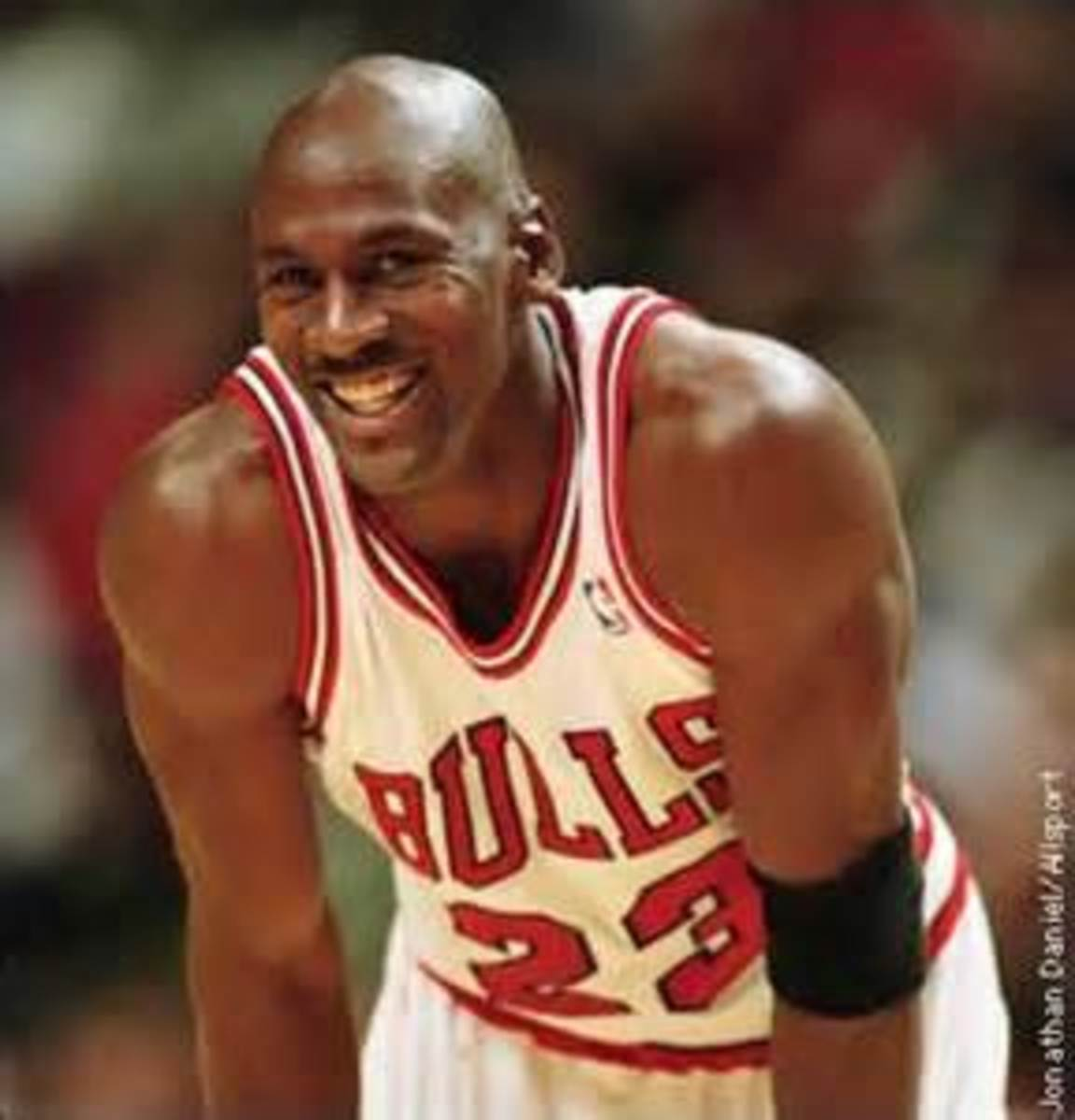 Jordan wasn't just the biggest star in the NBA, he was the biggest star in sports. It's easy to smile when you've accomplished what he has.