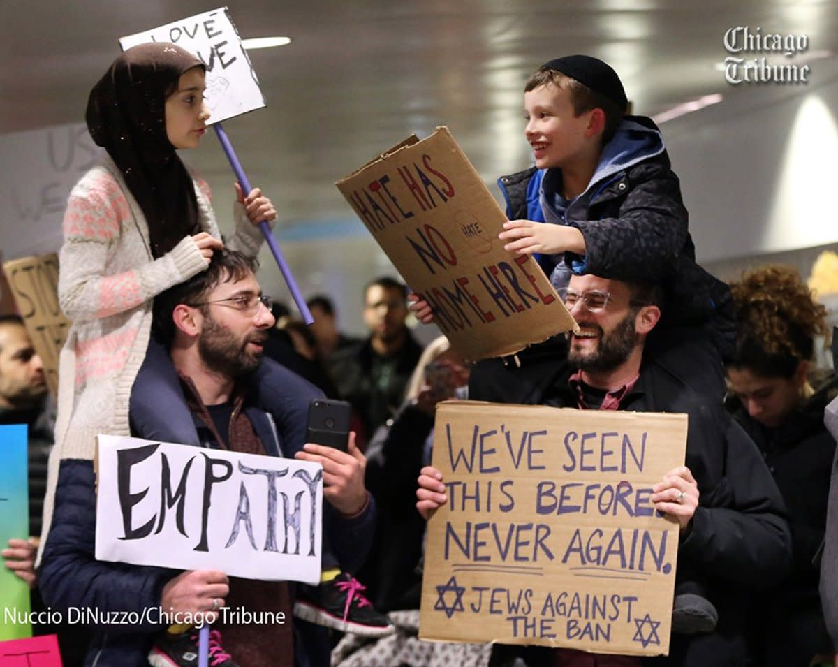 Many Americans have come to the support of immigrants and families trapped in airports by Trump's ban.  This even included from other groups who traditionally had seen them as some the travelers as rivals.