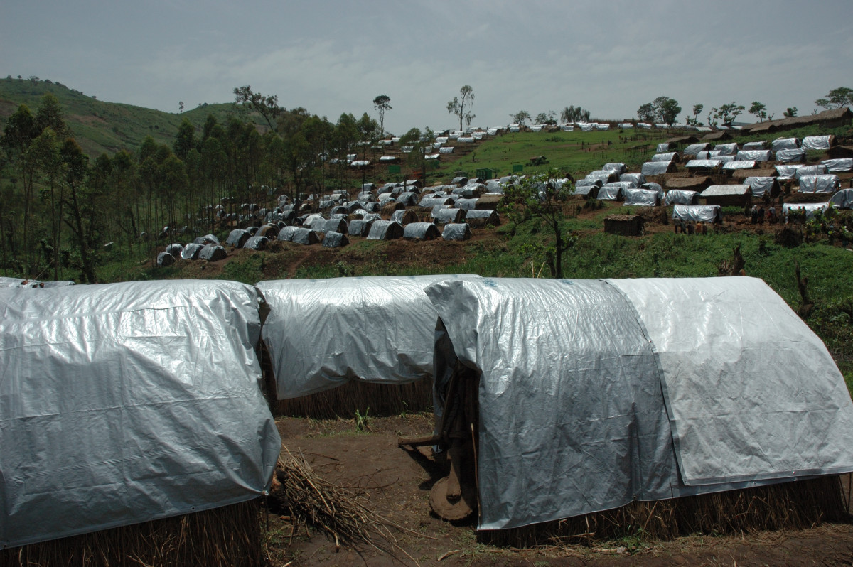 Tents dominate the landscape at this refugee camp located in Nyanzale of the Congo.