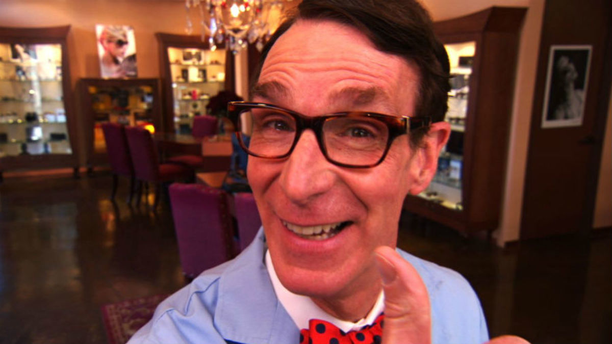 "Bill Nye, dressed in the costume he wore whilst recording his critic-acclaimed ""Bill Nye, the Science Guy"" TV show."