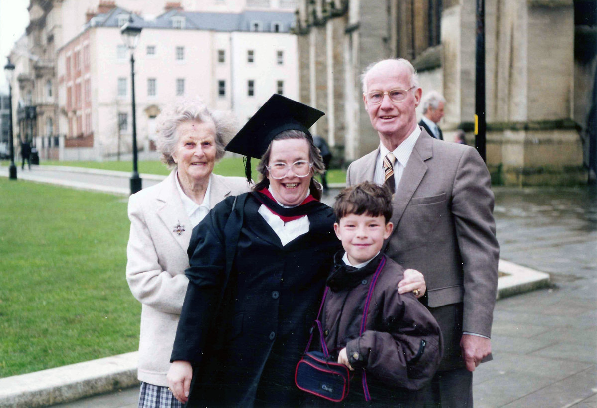 My wife with her son and parents when she graduated from university as a mature student.