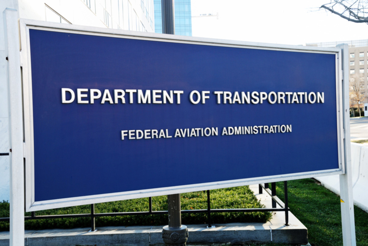A sign for the FAA.