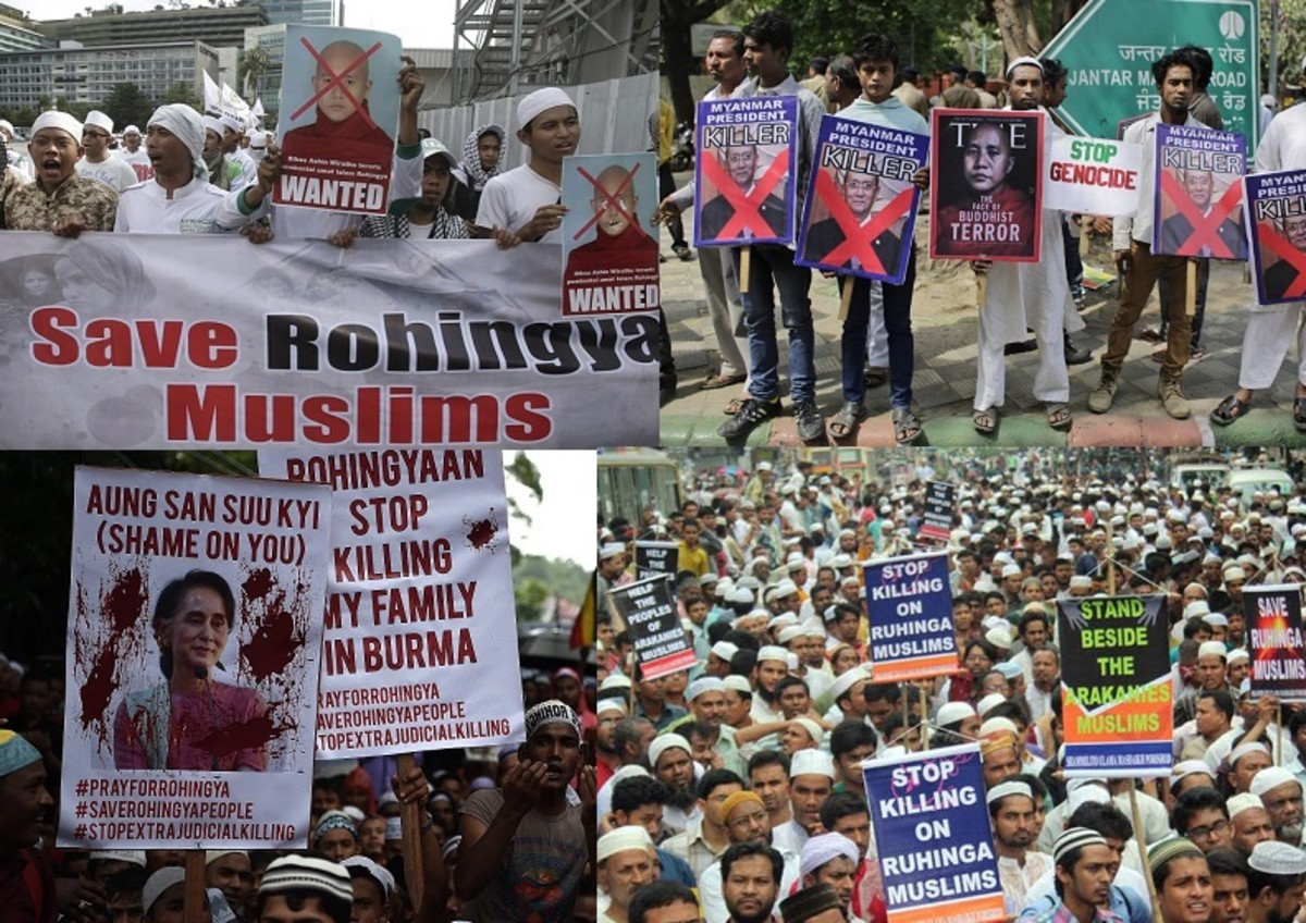Protests seeking support for Rohingyas